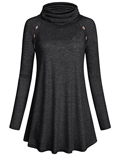 (Kimmery Womens Sweaters to Wear with Leggings Laides Light Long Sleeve Tunic Top Soft Cowl Neck Button Embellished T Shirt Knit Snug Basic Dressy Flowy Sweatshirts Dye Black)