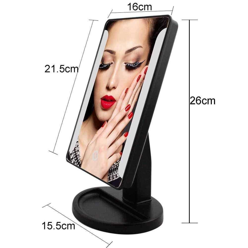3 Seiten Kosmetikspiegel mit 22 LED Licht Folding Upcompact Dimmbar 180 Grad Einstellbar Drehung Durch Akku Oder USB-Aufladung Make-Up-Spiegel lcym Schminkspiegel LED