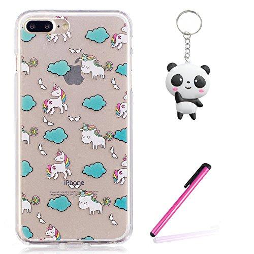 Coque iPhone 8 Plus,licorne mignon Premium Gel TPU Souple Silicone Transparent Clair Bumper Protection Housse Arrière Étui Pour Apple iPhone 8 Plus + Deux cadeau
