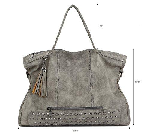Tassel shoulder handle Punk Pahajim bag Black women Rivet Studded leather top satchel handbag Motorcycle TnvYPHn