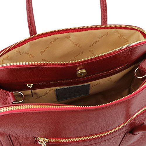 Bag souple Rouge main cuir à en Noir Leather Sac Tuscany 2 TL TL141285 aqxwE784