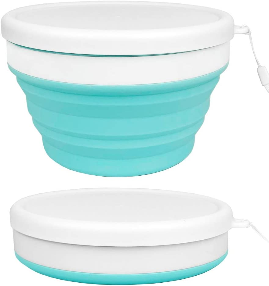 ECOmorning 30oz/900ml Silicone Collapsible Bowls Silicone Food Storage Containers with Lids Collapsible Lunch Box Containers, Microwave, Freezer Safe
