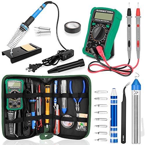 Switch Iron Electric (Soldering Iron Kit with Digital Multimeter, HANDSKIT Soldering Iron Kit Electronics, 60W Adjustable Temperature Welding Tool with ON-OFF Switch, 12-in-1 Soldering Iron Kit, 2pcs Tips, Desoldering Pump)