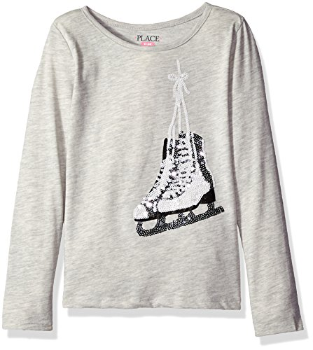 The Children's Place Girls' Little Long Sleeve T-Shirt 2, Ice Skate Gray 70011, - Skate Clothing Girl