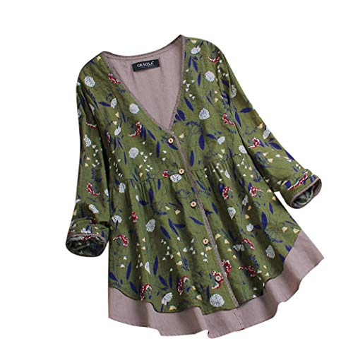 Xinantime Ladies Vintage Loose Swing Dress Shirt Retro Layered Floral Print Patchwork Blouse Splicing Easy Tops Green