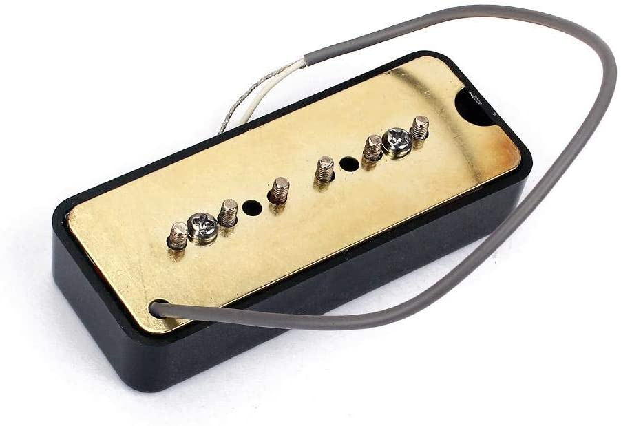 Nrpfell A Pair of Black Single Coil Soap Bar Pickups for P90 Electric Guitar 50mm 52mm Hole Space