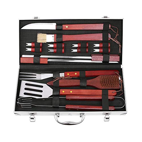 femor BBQ Grill Accessories Set, 19-Pieces Stainless Steel Utensils, Outdoor Cooking Accessories Spatula, Tongs, Cleaning Brush with Aluminum Storage Case, Best Gift on Fathers Day