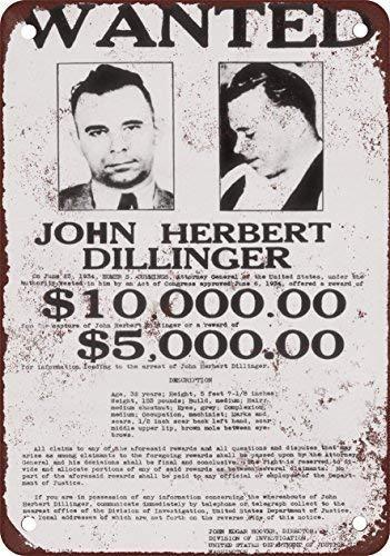Toddrick John Dillinger Wanted Poster Cartel de Chapa Estilo ...