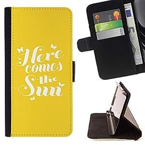 For Samsung Galaxy Note 3 III Case , Here Comes The Sun Cita Verano amarillo- la tarjeta de Crédito Slots PU Funda de cuero Monedero caso cubierta de piel