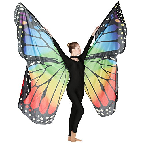 Danzcue Adult Soft Rainbow Butterfly Wings Dance Costume Accessory (Rainbow Wings Costume)