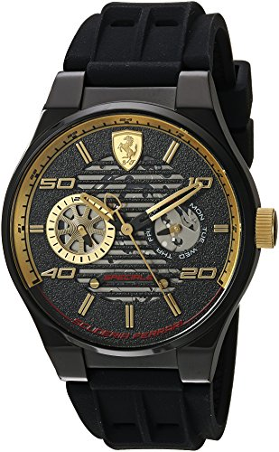 Scuderia Ferrari Men's Speciale Stainless Steel Quartz Watch with Silicone Strap, Black, 9.5 (Model: 0830457) (Ferrari Uns)