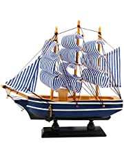 Dedoot Wooden Sailing Ship Model, Vintage Handmade Wood Sailboat Model Nautical Decor 8¡±x7¡± for Tabletop Ornament, Photo Props, Beach Ocean Theme Party and Room Decoration