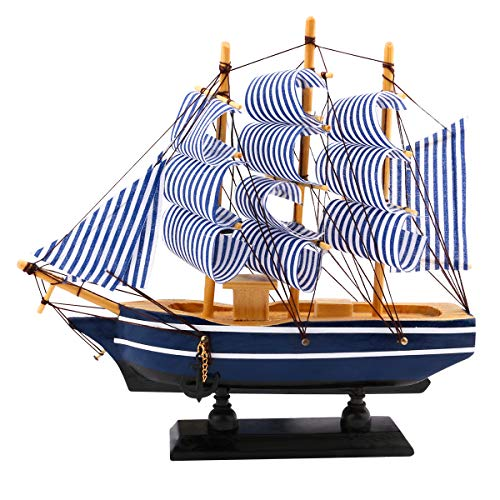 """Dedoot Wooden Sailing Ship Model, Vintage Handmade Wood Sailboat Model Nautical Decor 8""""x7"""" for Tabletop Ornament, Photo Props, Beach Ocean Theme Party and Room ()"""