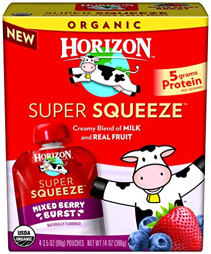 Horizon Organic Super Squeeze Pouch, Mixed Berry Burst, 4 Count (Pack of 6)