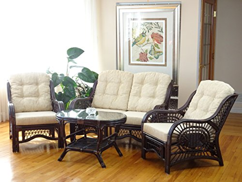 Malibu Rattan Wicker Living Room Set 4 Pieces 2 Lounge Chair Loveseat/sofa Coffee Table Dark Brown Cream Cushions (Dark Chair Brown Wicker)