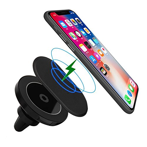 Magnetic Wireless Car Charger - Maxjoy Vent Mount Wireless Car Charger for Samsung Galaxy Note 8 S7 S7 Edge S8 S8 Edge Note 5 S6 Edge Plus, Apple iPhoneX iPhone 8 iPhone 8 Plus and Others Qi Devices