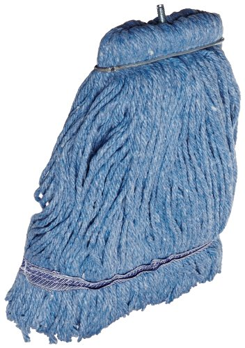 Impact 36116 Layflat Screw-Type Cut-End Blend Wet Mop Head with No-Tangle Band, 16 oz, Blue (Case of 12) by Impact Products