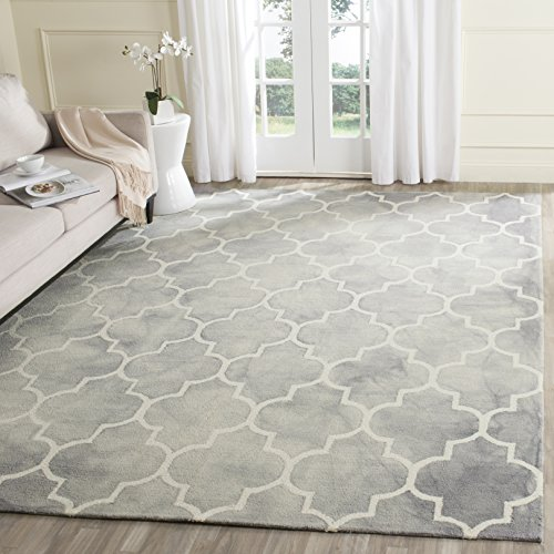 Safavieh Dip Dye Collection DDY535C Handmade Moroccan Watercolor Grey and Ivory Wool Square Area Rug (7' Square)