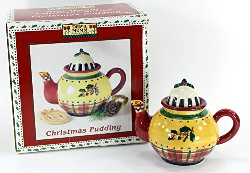 Sakura Debbie Mumm Teapots - Sakura - Debbie Mumm - Mumm's The Word - Mini Teapot Collector Series - Christmas Pudding