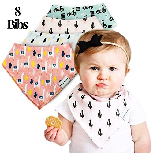 Bandana Bibs Extra Soft - 8-Pack Baby Drool Bib for Drooling and Teething, Natural Cotton, Hypoallergenic, Super Absorbent, 8 Stylish Designs for Baby Girls Boys Toddler, Baby Shower Gift by (Design A Bandana)