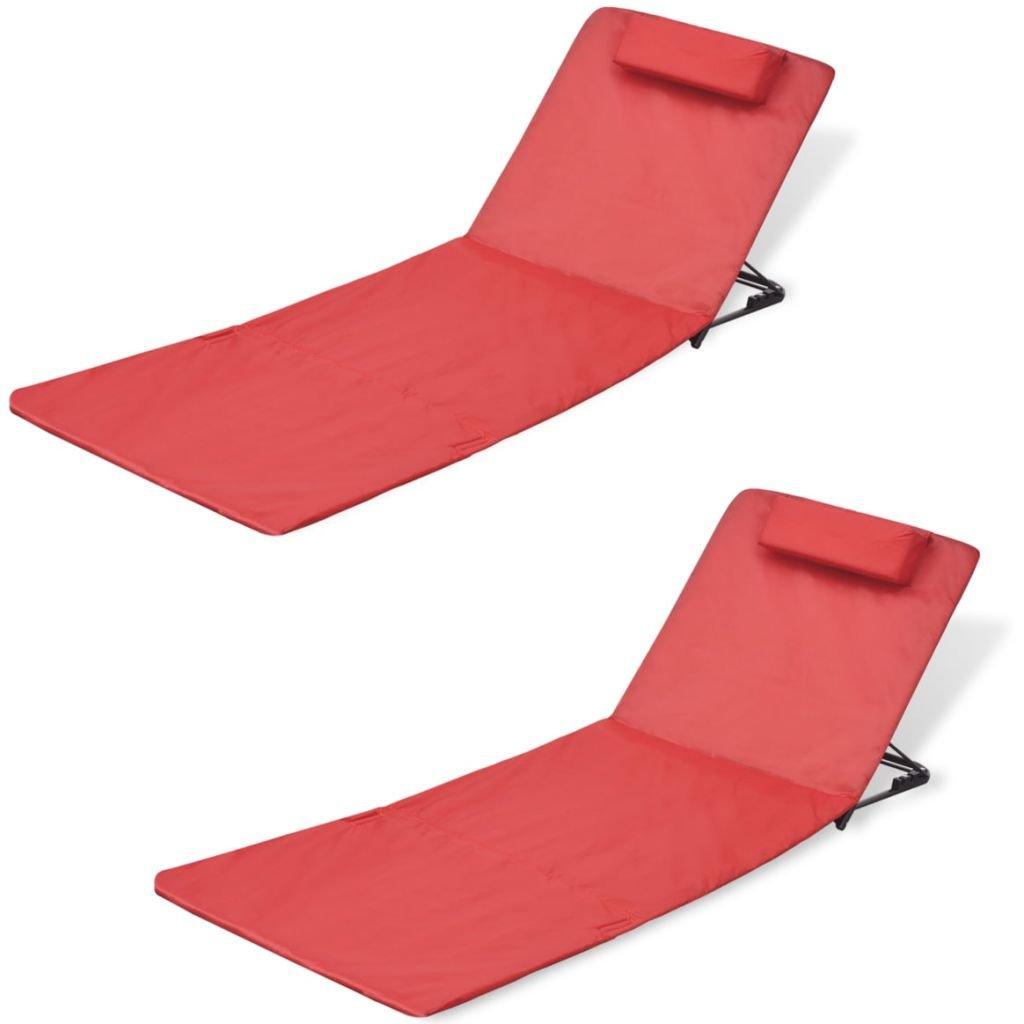 vidaXL 2 pcs Red Patio Beach Mat Pillow Chair Folding Portable Adjustable Back