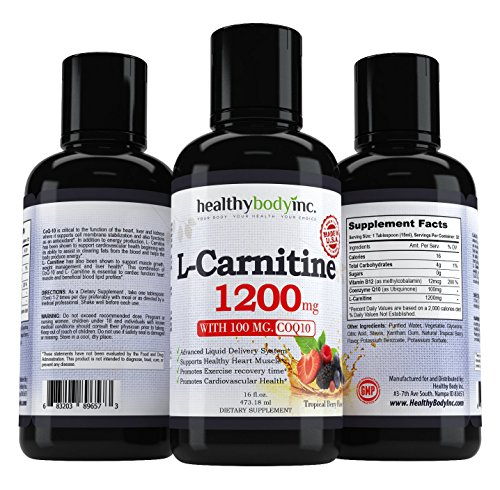 L Carnitine 1200mg - L Carnitine Liquid for best absorption and results- Also has 100 mg. of Coq10 and B12
