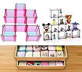 DIY Plastic Partition Makeup Socks Underwear Bras Ties Belts Drawer Organizers Home Decorate Holder 2 Sets( Pink)