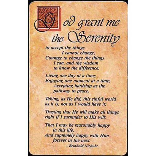 Pocket Card Bookmark Pack of 12 - Complete Serenity Prayer (The Complete Serenity Prayer By Reinhold Niebuhr)