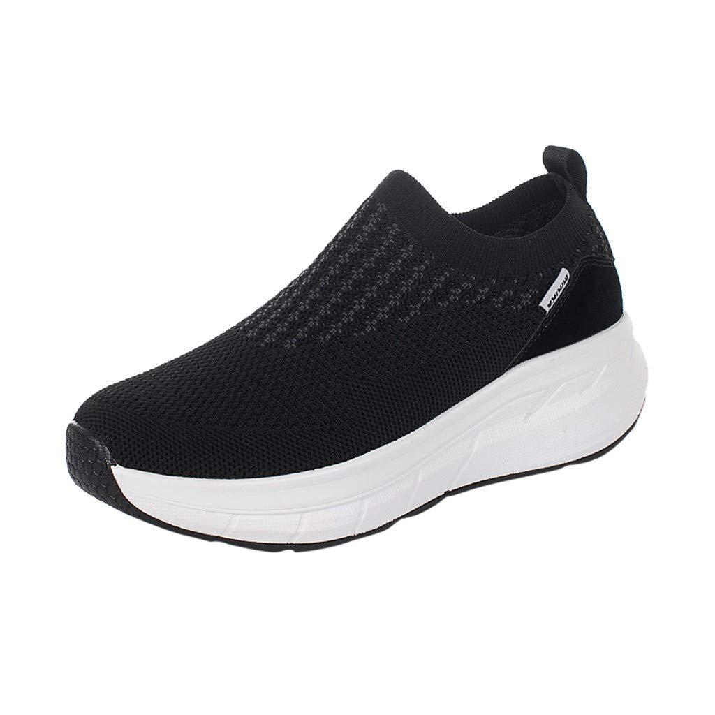 Rmeioel Women's Ladies Fashion Leisure Mesh Slip-On Wedges Heels Breathable Slip-Ons Sneakers Shoes Black by Rmeioel