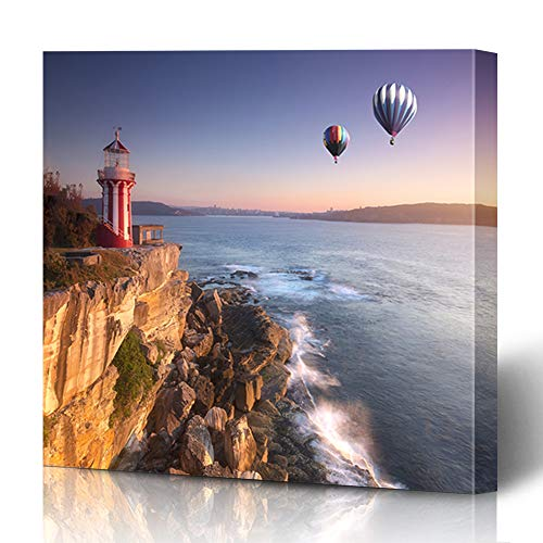 Onete Canvas Prints Painting Artwork 16x16 at Stone Hot Air Balloon Fly Over Sky Lighthouse Sunrise Hornby Nature Leisure Parks Outdoor Water Wall Art Printing Home Bedroom Living Room Office Dorm (Outdoor Furniture Nsw)