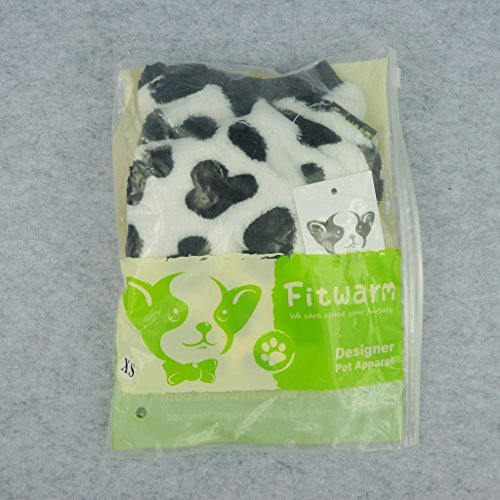 Fitwarm Adorable Milk Cows Pet Dog Clothes Comfy Velvet Winter Pajamas Coat Jumpsuit, Small by Fitwarm (Image #6)