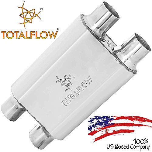 "TOTALFLOW Polished 2.5"" Dual In / 2.5"" Dual Out 515444 409 Stainless Steel Two-Chamber Universal Muffler 2.5"" Dual Out"