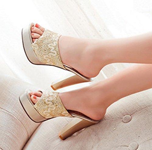 Shoes Slide Heels Mules Aisun Toe High Peep Platform Gold Women's Sandals Dressy XnnqvSg