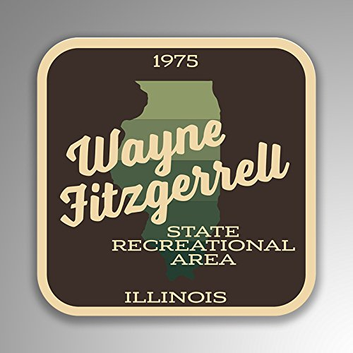 JMM Industries Wayne Fitzgerrell State Recreational Area Illinois Vinyl Decal Sticker Retro Vintage Look 2-Pack 4-inches by 4-inches Premium Quality UV Protective Laminate - Illinois Auto Truck