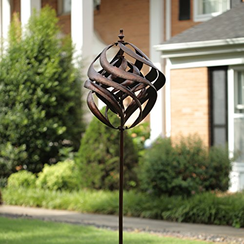 Large Copper Wind Spinner - American Furniture Classics Copper Spiral Wind Spinner Yd Ornament, Large