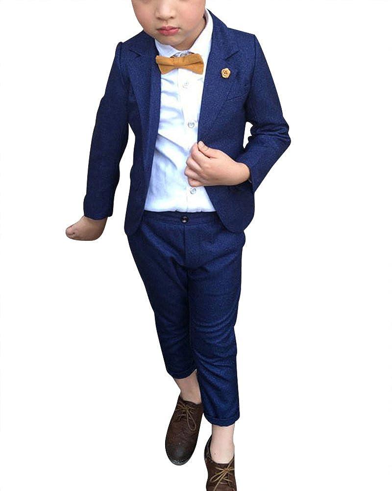 Bekleidungssets Dianshao Jungen 2 Stuck Formal Anzug Sets Einfarbig Kinderkleid Festliche Kleidung Hochzeit Bekleidung
