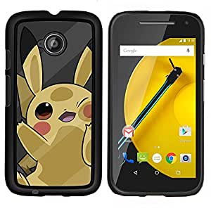 Qstar Arte & diseño plástico duro Fundas Cover Cubre Hard Case Cover para Motorola Moto E2 E2nd Gen (Lindo P0kemon Amarillo)