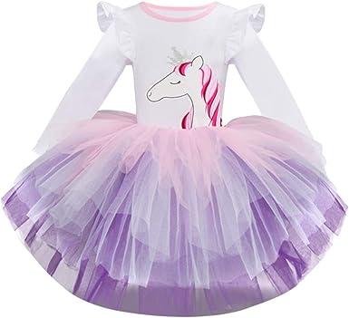 Luckycat Niña Vestido 2PCS Princesa Unicornio Disfraz Verano ...