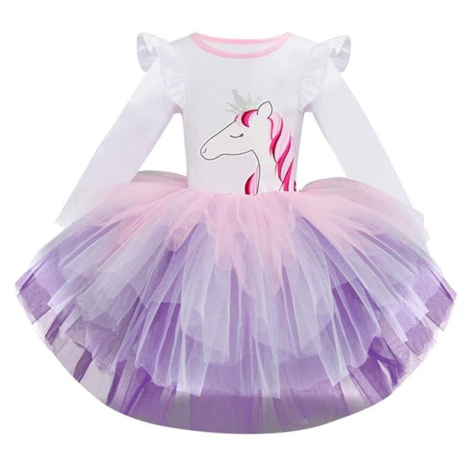fc7dc98df Luckycat Niña Vestido 2PCS Princesa Unicornio Disfraz Verano Cosplay Tutu  Falda Arco Iris Fiesta Carnaval Bautizo Cumpleaños Comunión Boda Flor ...