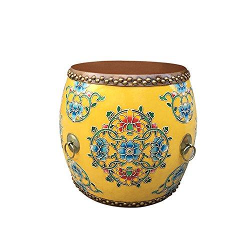 WLL- Taburete de Tambor de Madera Maciza Chino Taburete de Cuero Bordado Taburete de Cuero Pintado clasico (32x35cm) (Color : B)