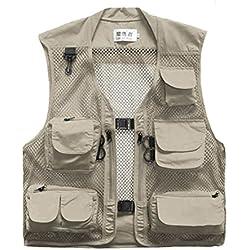 Men Mesh Breathable Multi-Pocket Vest Outdoor Travelers Fly Fishing Photography (Khaki, XXXL)