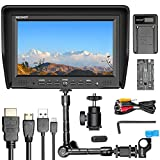 Neewer NW-708M 7 inches On-Camera Field Monitor Kit:800x480 High Resolution IPS Screen Monitor, 11 inches Magic Arm with Rod Clamp, Battery Charger, Replacement Battery for Sony F550
