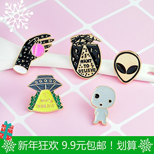 Price comparison product image 2018 creative cartoon alien spacecraft series brooch Ja and South Korea accessories collar pin pin badge 9.9