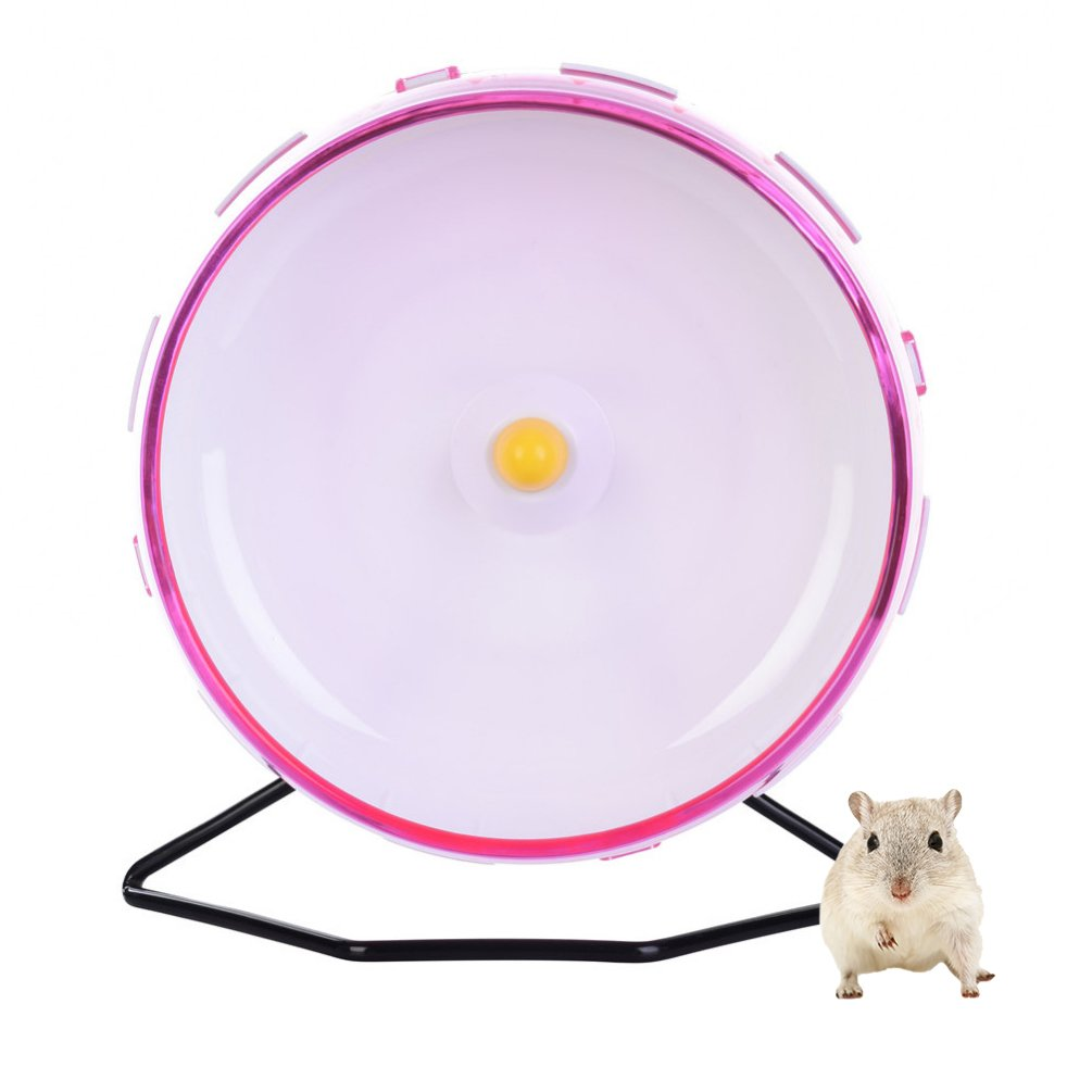 Petacc Hamster Exercise Wheel Hamster Toy Small Animal Wheel with Holder, 8'' Diameter (Pink)