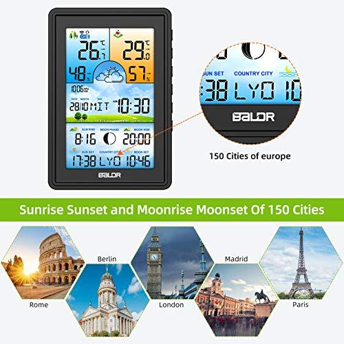 Bimonk - Estación Meteorológica Meteo Inalámbrica – Higrómetro, Termómetro digital con sensor externo, Pantalla a color, Reloj con fecha y hora, ...
