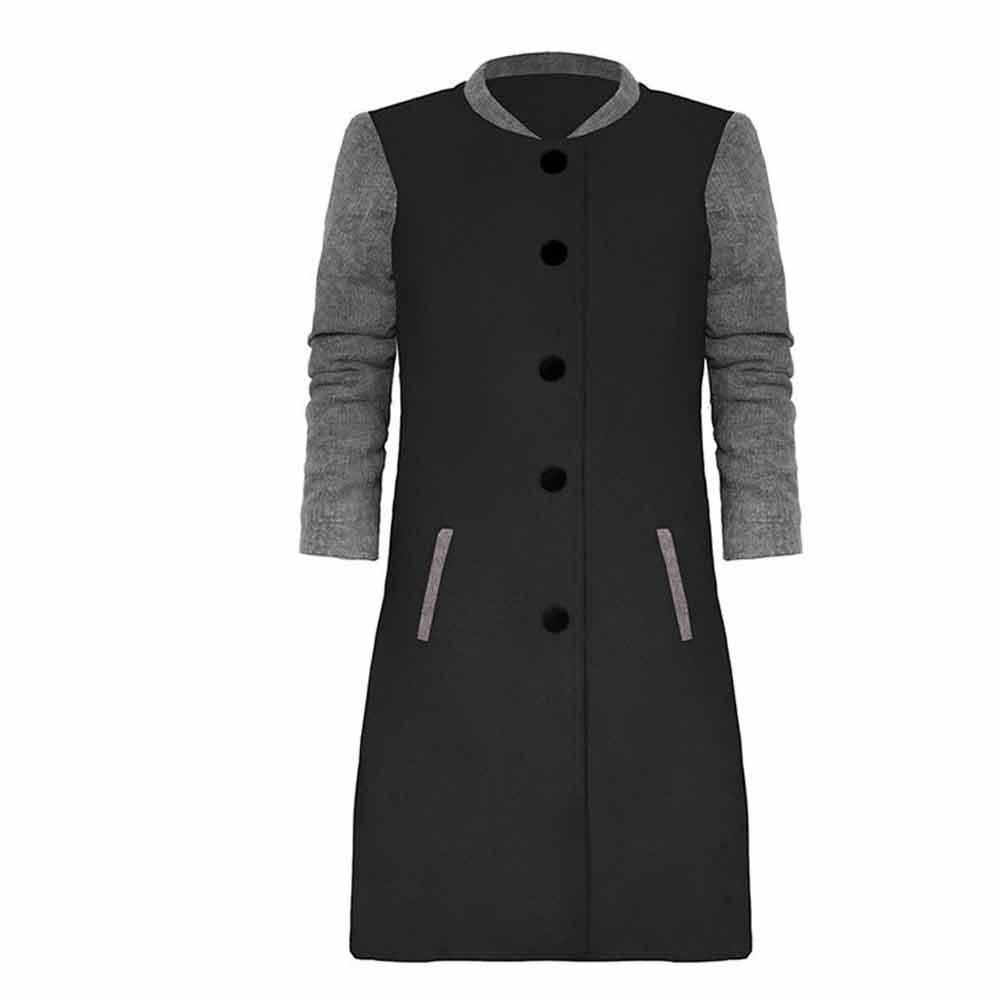iYBUIA Fall Womens Print Casual Patchwork Long Sleeve Cardigan Jacket Lady Coat Jumper Knitwear(Black,L) by iYBUA (Image #1)