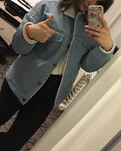 Azzurro Minetom Rose foderato Lunga Denim Autunno Manica Ragazze Corto Jacket Aa Donna Outerwear Giacca Capispalla Jeans Ricamo Giubbino Primavera r4IrUq