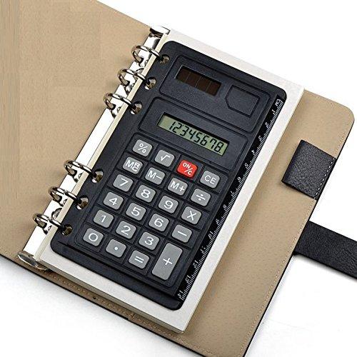 Chris-Wang Portable Pocket 6-Hole Solar Power Calculator Ruler for Universal A5/A6/B5 Binder Planner/Notebook/Personal Organizer/Planner (Calculator For Binder)