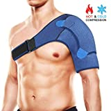 Shoulder Brace with Compression Pad, Haofy Shoulder Support for Hot or Cold Therapy, Helps Relieve Pain, Sprain, Rotator Cuff Injury, Shoulder Dislocation, AC Joint and Ligament Tear, for Men & Women