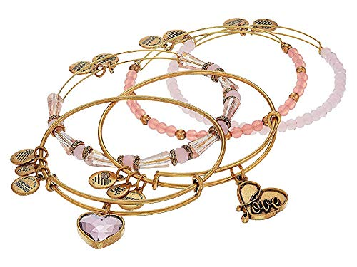 Alex and Ani Alive with Love Pink and Gold Bangle Bracelet